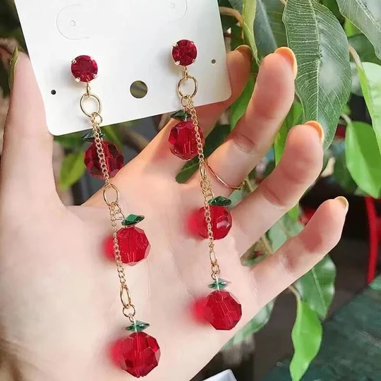 Romantic Affordable Charm Summery Dangly Earrings Pretty red Flowers