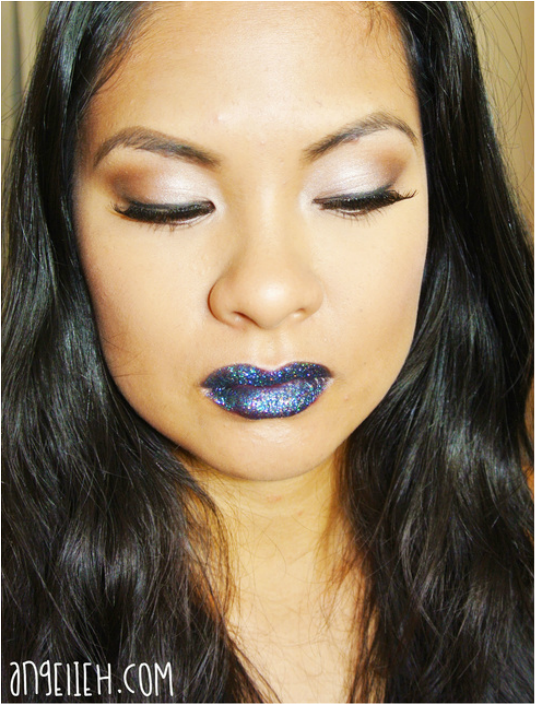 Glitter lipstick makeup look on my blog www.angelieh.com
