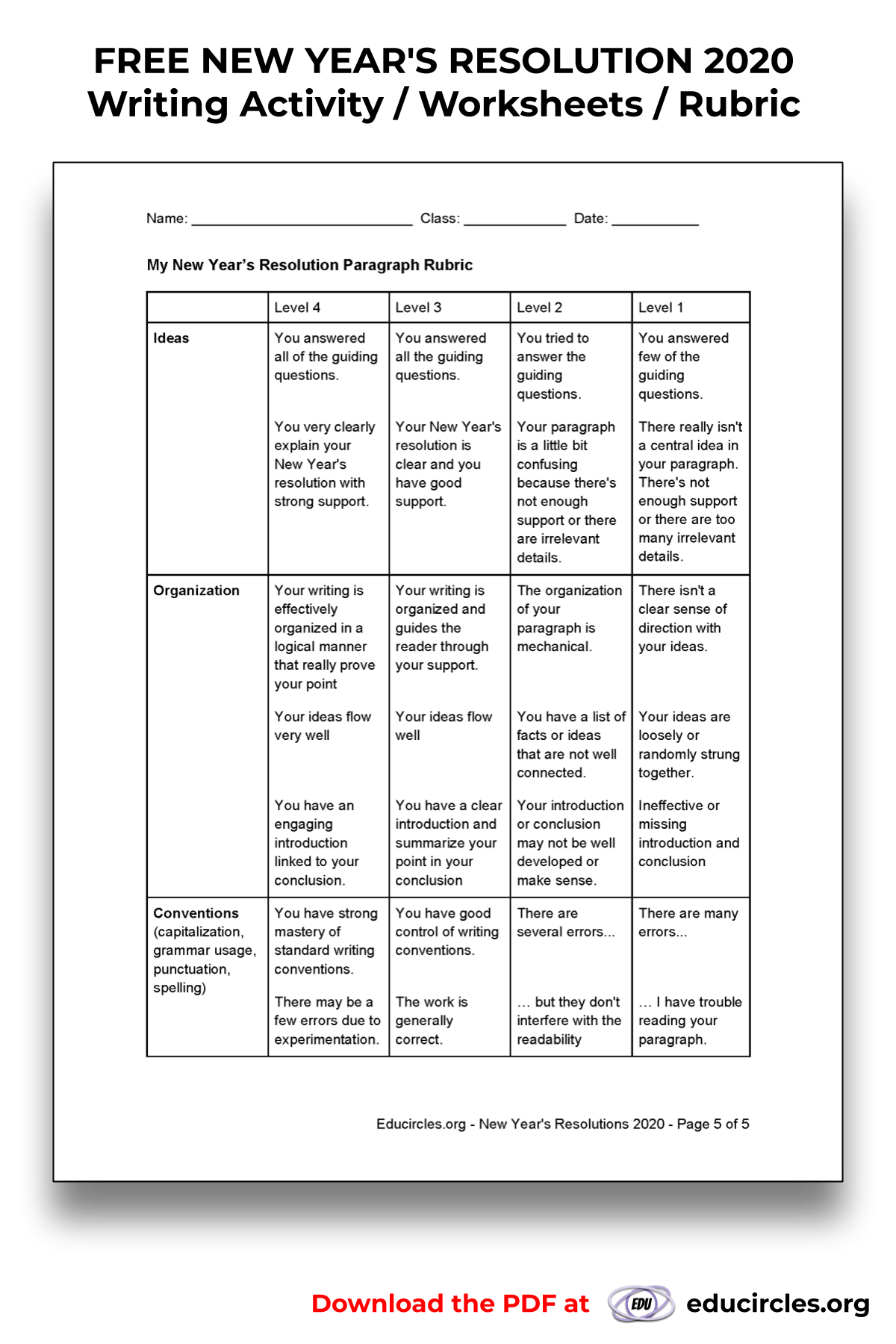 My New Year S Resolution Writing Paragraph Rubric