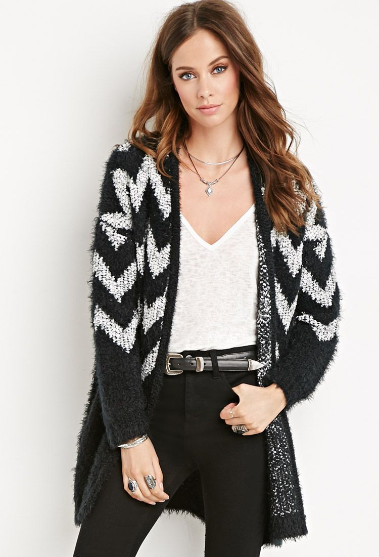 Chevron-Patterned Fuzzy Cardigan | FOREVER 21 saved by #ShoppingIS ...