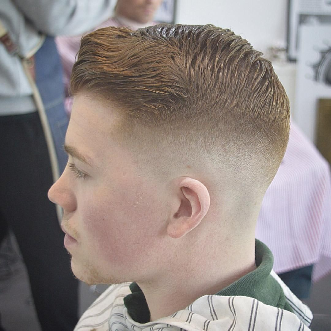 mid fade haircut medium skin fade with pompadour side view from george 9613