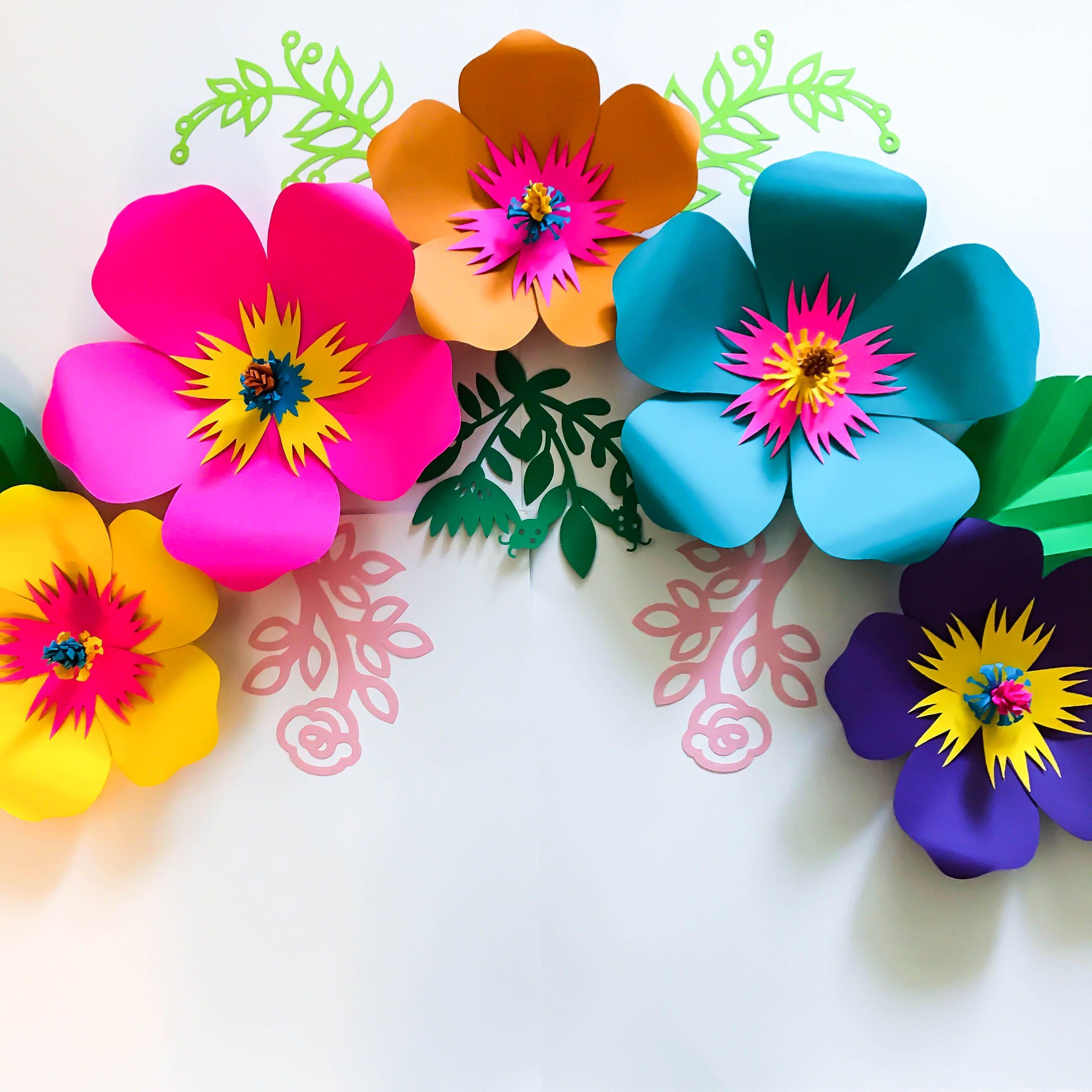 SVG PNG DXF Petal 101 Hibiscus Paper Flower Template DIY Cricut