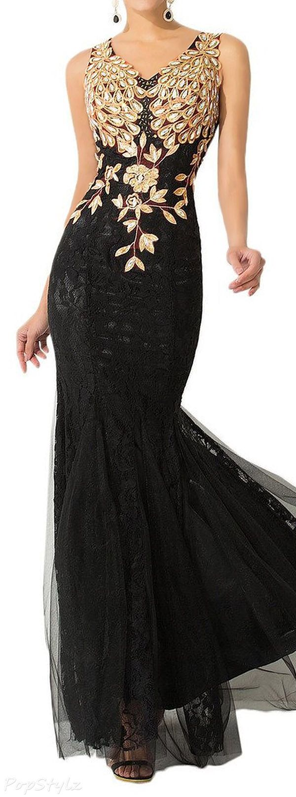 Sunvary mermaid lace long formal gown black u gold