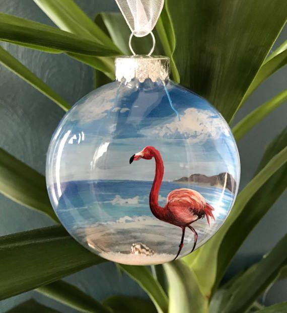 Pink Flamingo Hand Painted Glass Ornament Beach Nautical Tropical Ocean Paradise Christmas Tree Decor Sand Conch Shell Aqua Deep Blue Sea