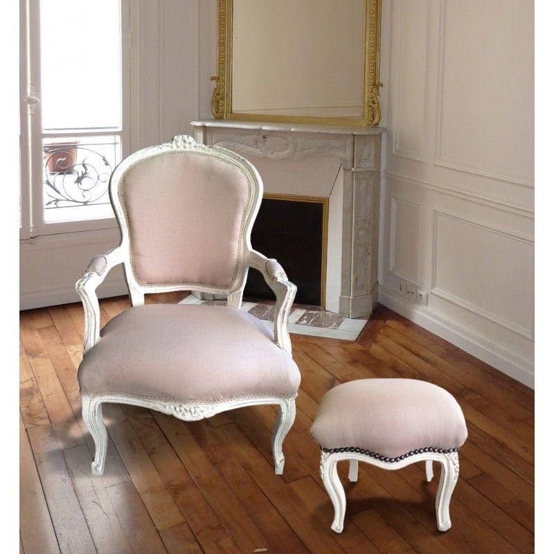 Fauteuil de style Louis XV tissu couleur lin beige et bois beige