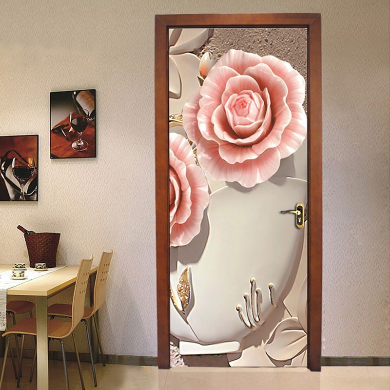 Pvc Waterproof Door Sticker Wall Painting Living Room Bedroom Door