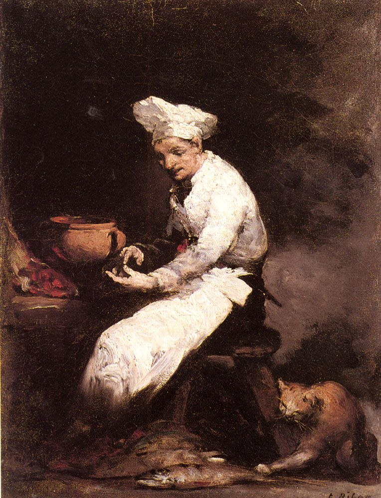 A large, roughneck cat grabs for the fish in The Cook and the Cat, by Theodule Augustine Ribot, 19th century French painter. That cat is clearly a ruffian and even the cook won't mess with it.