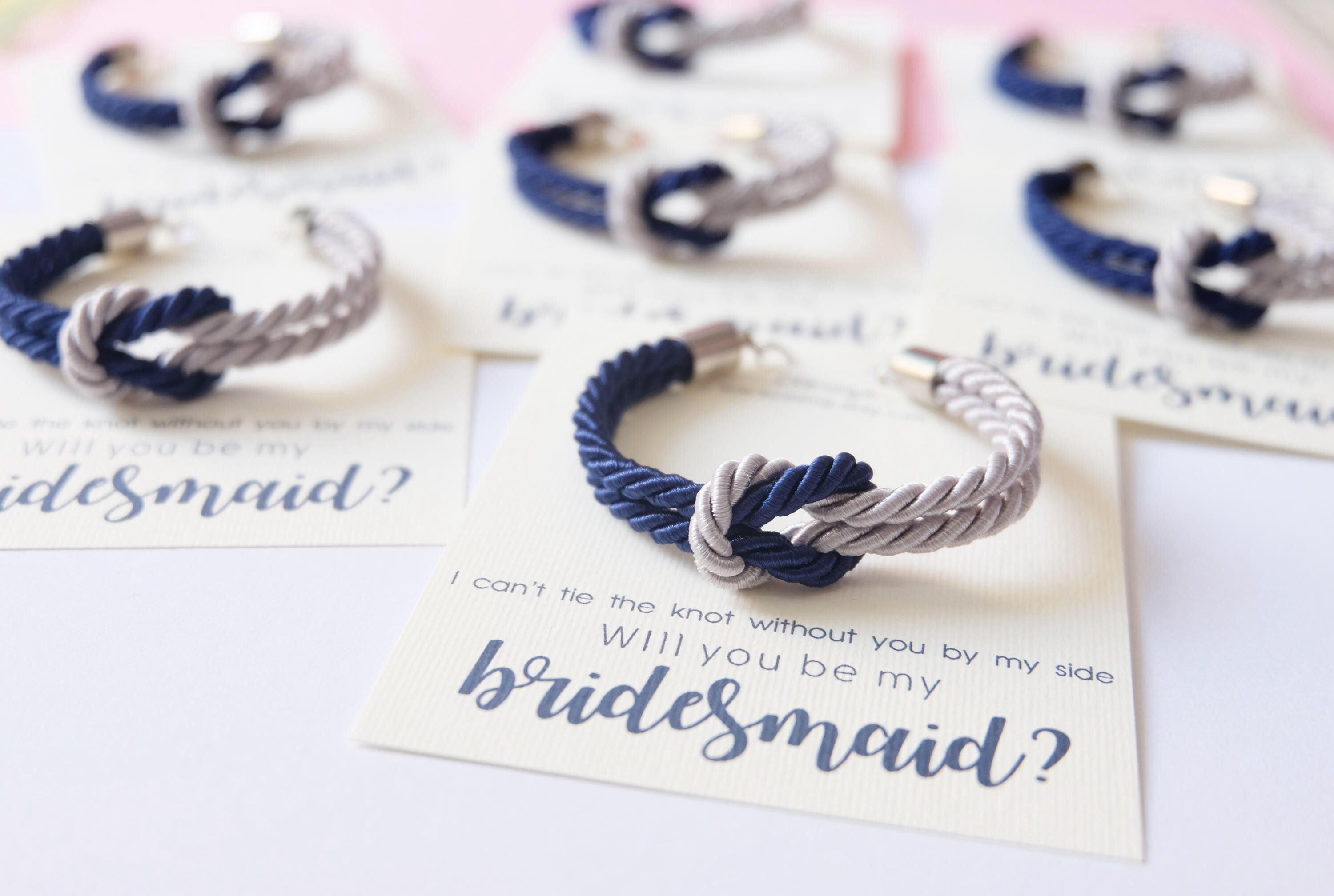 tie the knot wedding invitations etsy%0A Asking bridesmaid  tie the knot bracelet  navy blue gray wedding   nautical knotted rope