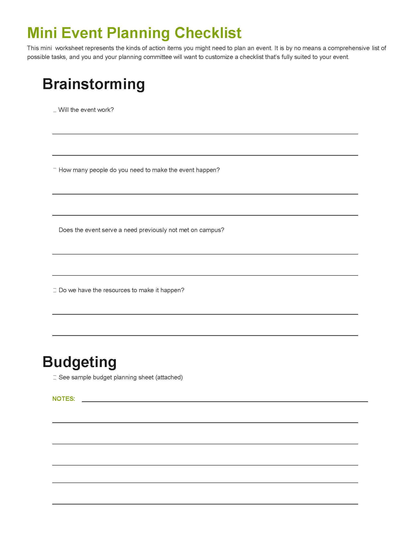 Mini Event Planning Guide Worksheet