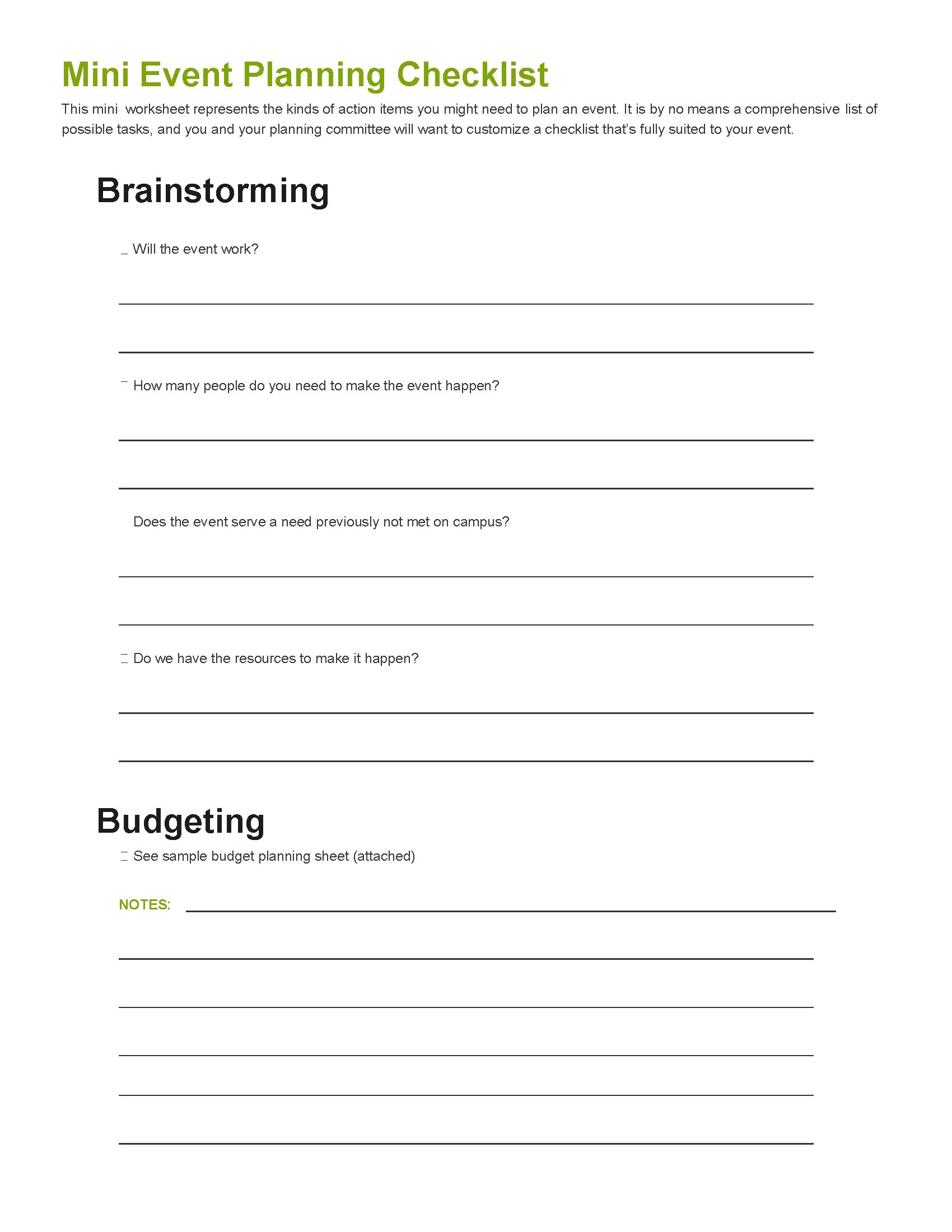 Mini Event Planning Guide Worksheet