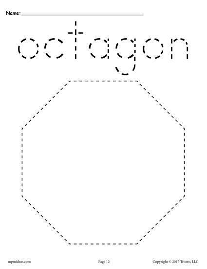 12 Shapes Tracing Worksheets Shape Tracing Worksheets Shapes Preschool Shapes Lessons Octagon shape worksheets for preschool