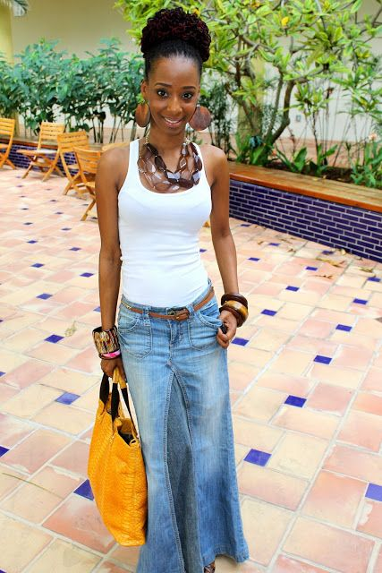 denim maxi skirt | DIY Projects | Pinterest