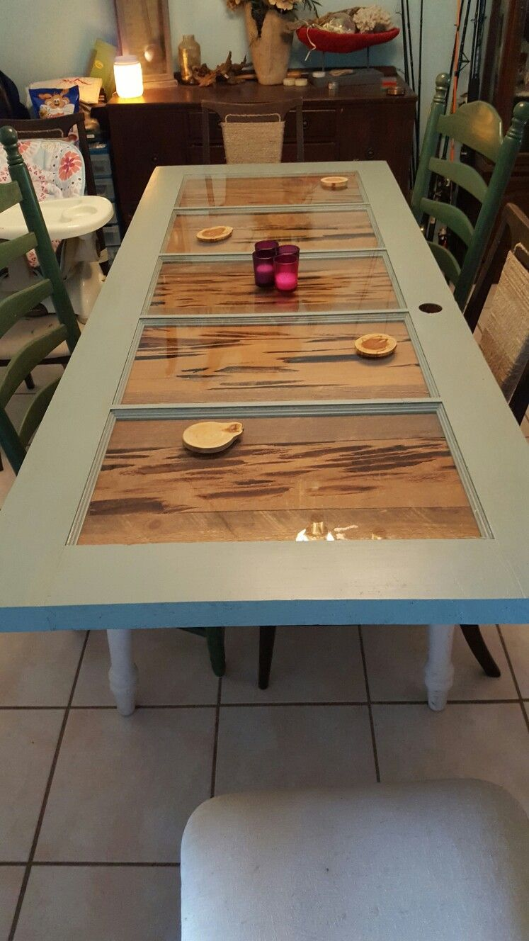 Dinner Table From Old Door With Pecky Cypress Inlays And Old