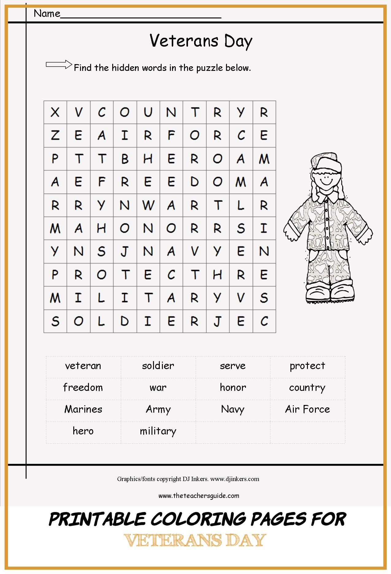 16 Printable Coloring Pages For Veterans Day In
