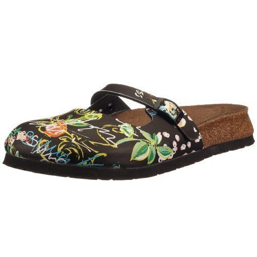Birkis clogs Maria from Birko-Flor in Summerkiss Black with a narrow insole  size 36.0