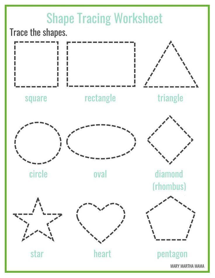 Free printable shape tracing worksheets Shape tracing