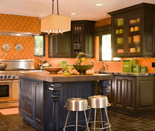Eclectic L-shaped Orange Kitchen, Walnut Cabinets, David