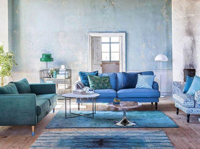 40 id es d co pour le salon elle d coration salon bleu salon et mur. Black Bedroom Furniture Sets. Home Design Ideas