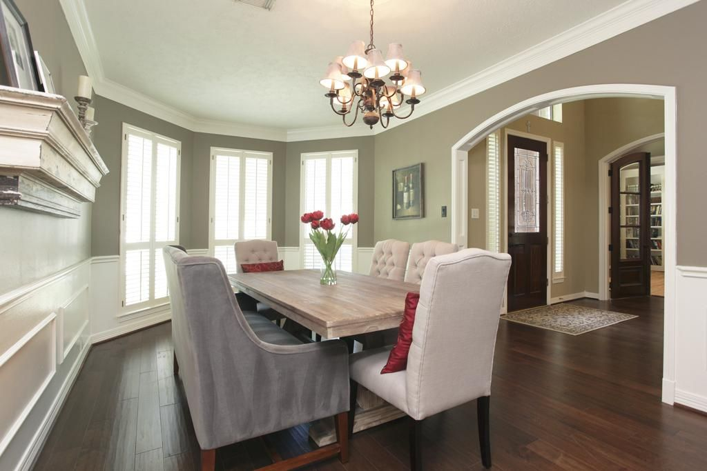 Formal dining room is 18x11 with bay windows overlooking
