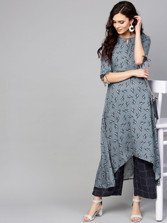852287cd8 Buy Libas Women Grey Printed A Line Kurta With Checked Palazzos - Kurta  Sets for Women 8073589