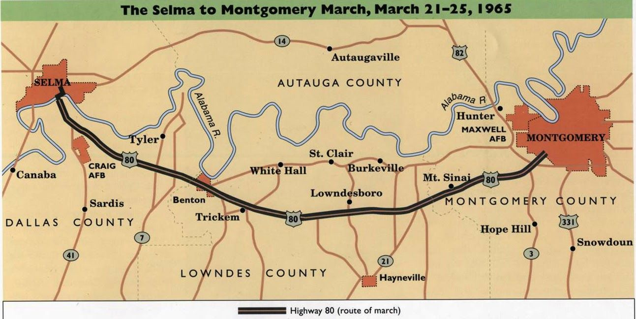 The Selma to Montgomery March Map | Black History Month Maps ...
