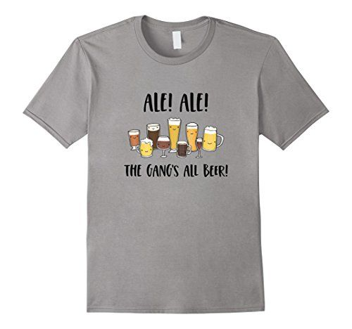 The perfect gift for craft brewers, craft beer enthusiasts, lover of beer puns and funny tee shirts! IPA lovers, ale lovers, beer drinkers, cheers! Mens Ale! Ale! The Gang's All Beer! Craft Beer Brewery Te... https://www.amazon.com/dp/B07361LPLX/ref=cm_sw_r_pi_dp_x_7S.wzbGVVBYNS