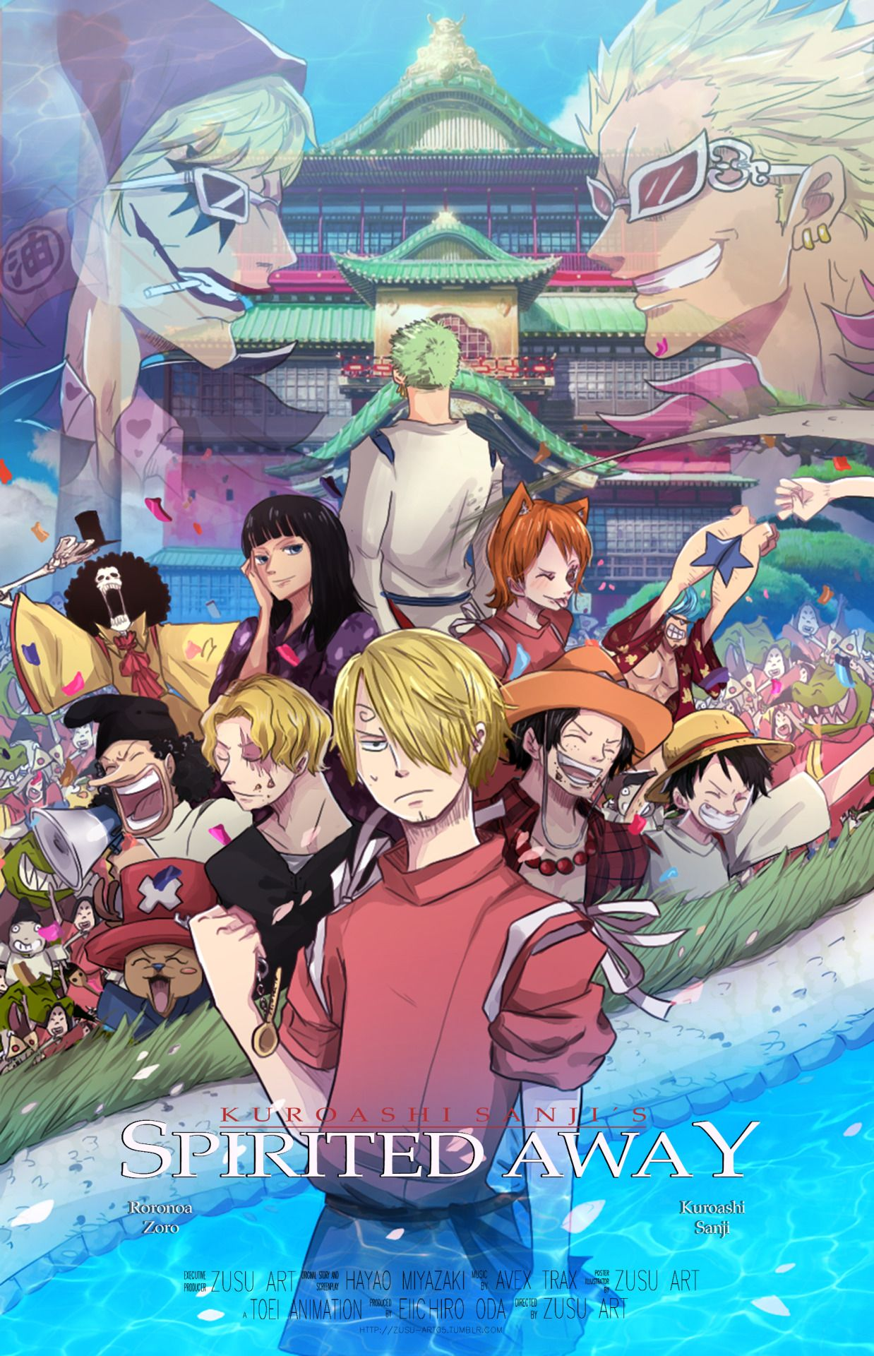 Crossover One Piece + Spirited Away AU…!! Film poster