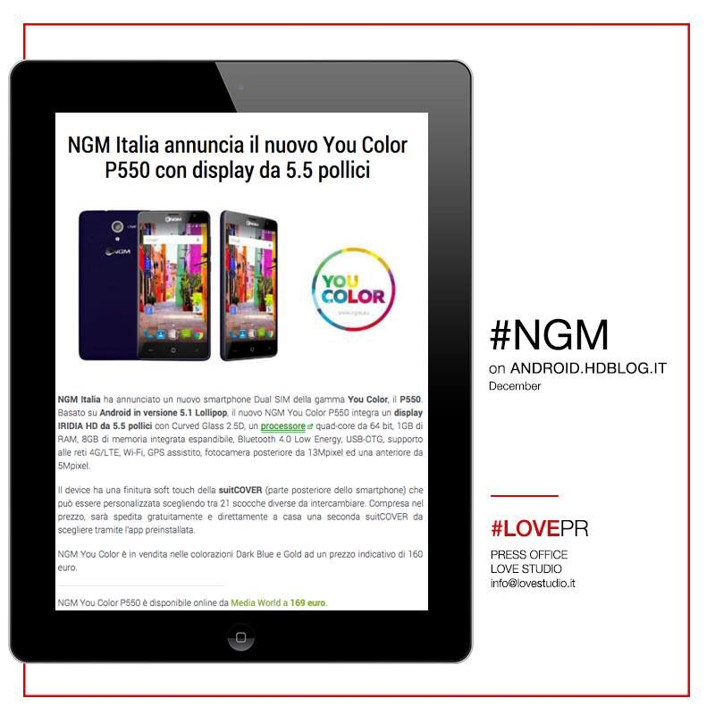 About us on web: Android.HdBlog.it #NGM e il nuovo #YouColor P550 con display da 5.5 pollici  www.ngm.eu