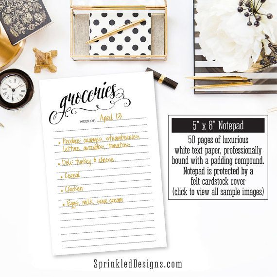 Grocery List Notepad  Grocery Shopping Note Pad  Groceries