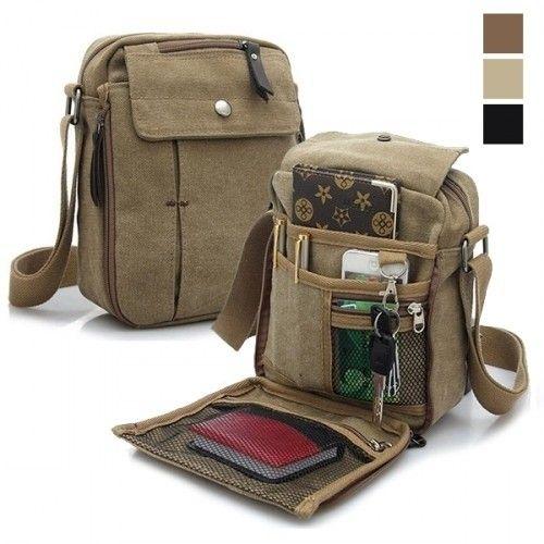 Canvas Travel Work Bag with Multi Zips /& Adjustable Crossbody Strap Manbag