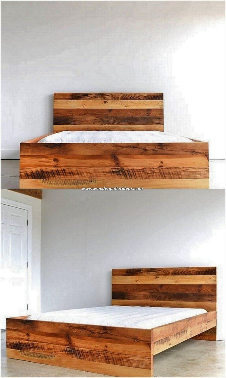 Genius Ideas Out Of Recycled Wood Pallets Wooden Pallet Ideas Pallet Bed Frame Designs Do Always L In 2020 Bed Frame Design Wood Pallet Bed Frame Wood Pallet Beds