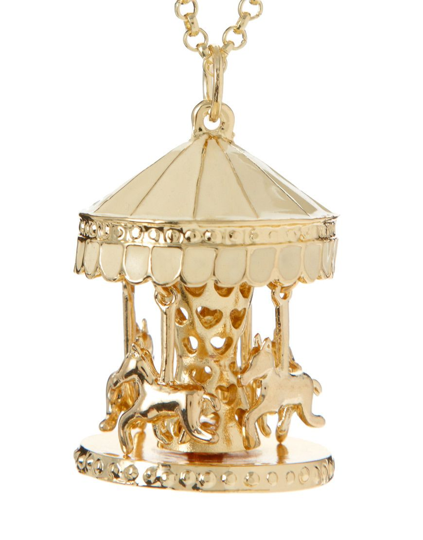 ASOS Carousel Long Pendant Necklace with Swinging Horse Charms $22.16