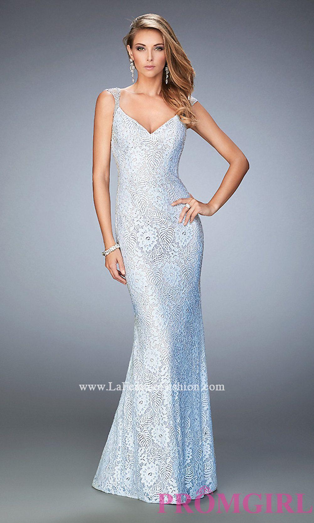V-Neck Long Lace La Femme Prom Dress Style: LF-22493 | Dresses ...