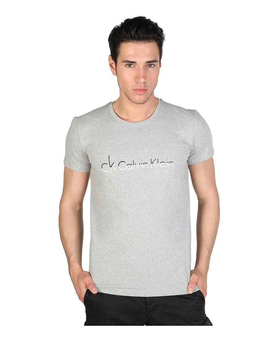 Calvin klein jeans - t-shirt uomo, maniche corte - girocollo - 95% co 5% el - logo stampato - lavare 40°c - T-shirt uomo Grigio