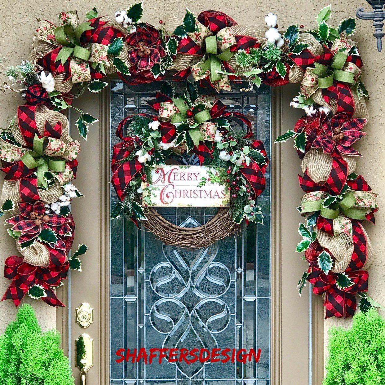 Farmhouse Christmas Door Decor, Rustic Christmas Garland