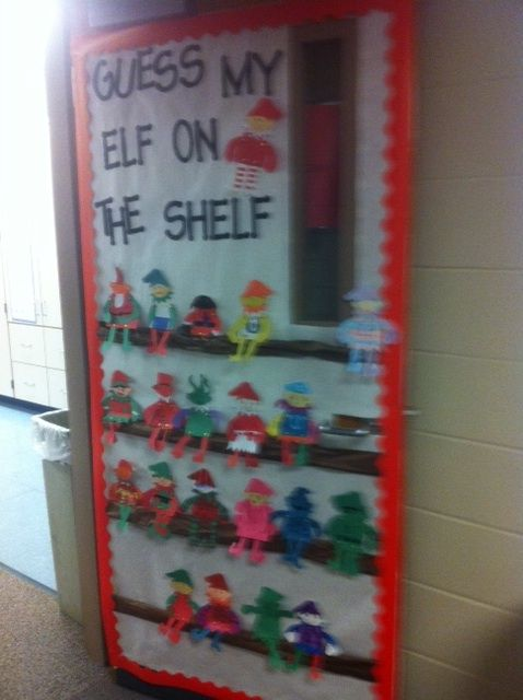 Christmas classroom door decorations run teacher run for Elf door decoration