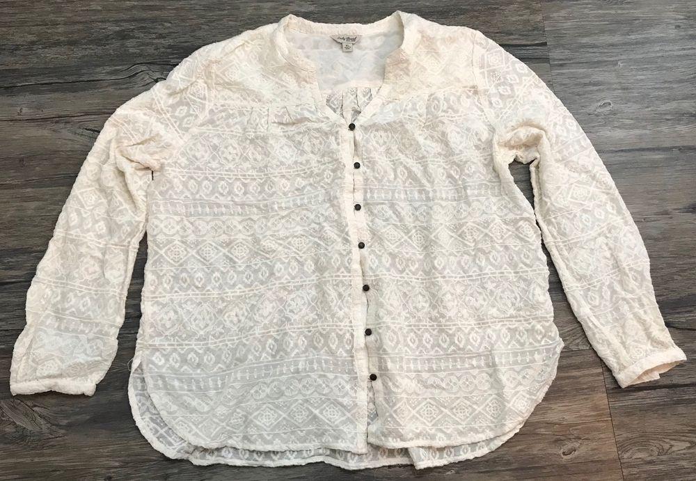 Lucky Brand Embroidered Blouse Ivory Boho Western Womens Sz XL*  | eBay