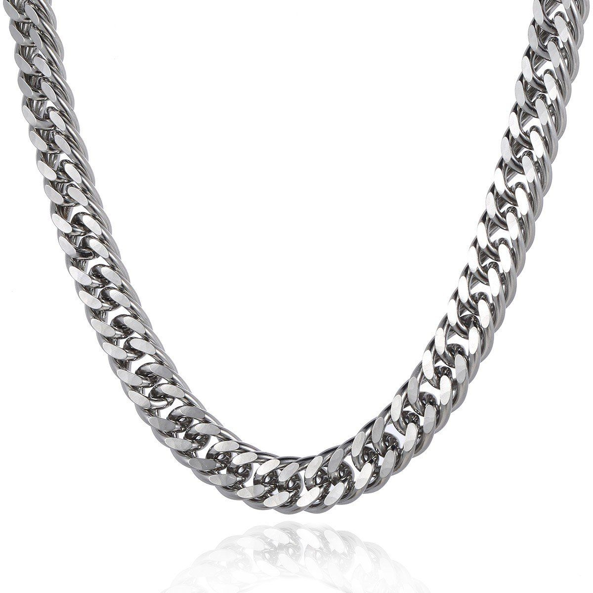 Trendsmax 15mm Mens Boys Silver Tone Rombo Curb Cuban Link Chain Necklace Stainless Steel Chain Length 18-36inch. Material: Stainless Steel. Come With a Trendsmax Bag. Measurement: Width: 15mm Length:18-36inch. Mens Chain Boys Necklaces Jewelry. Thanksgiving, Christmas, Birthday, Graduation, Back to School Gift.