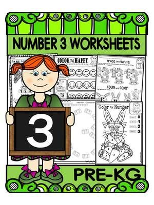 PRE-KG Math Worksheets- Number 3 Activity Pack- Counting ...