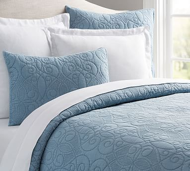 Washed Cotton Quilt, King/Cal. King, Pearl Blue | *Bedding ... : cotton quilts king - Adamdwight.com