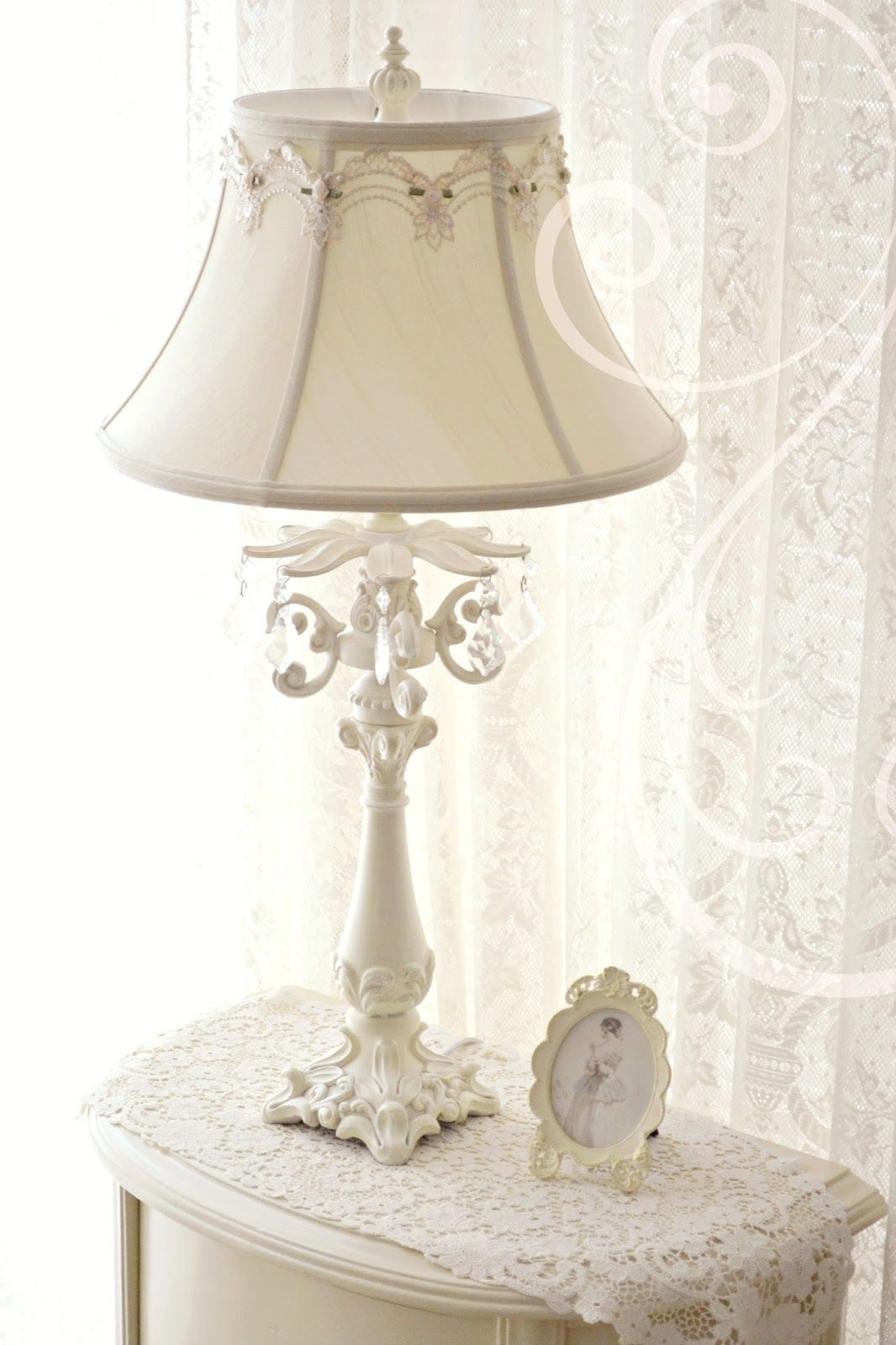 Jennelise Winter White Shabby Chic Table Lamps Shabby