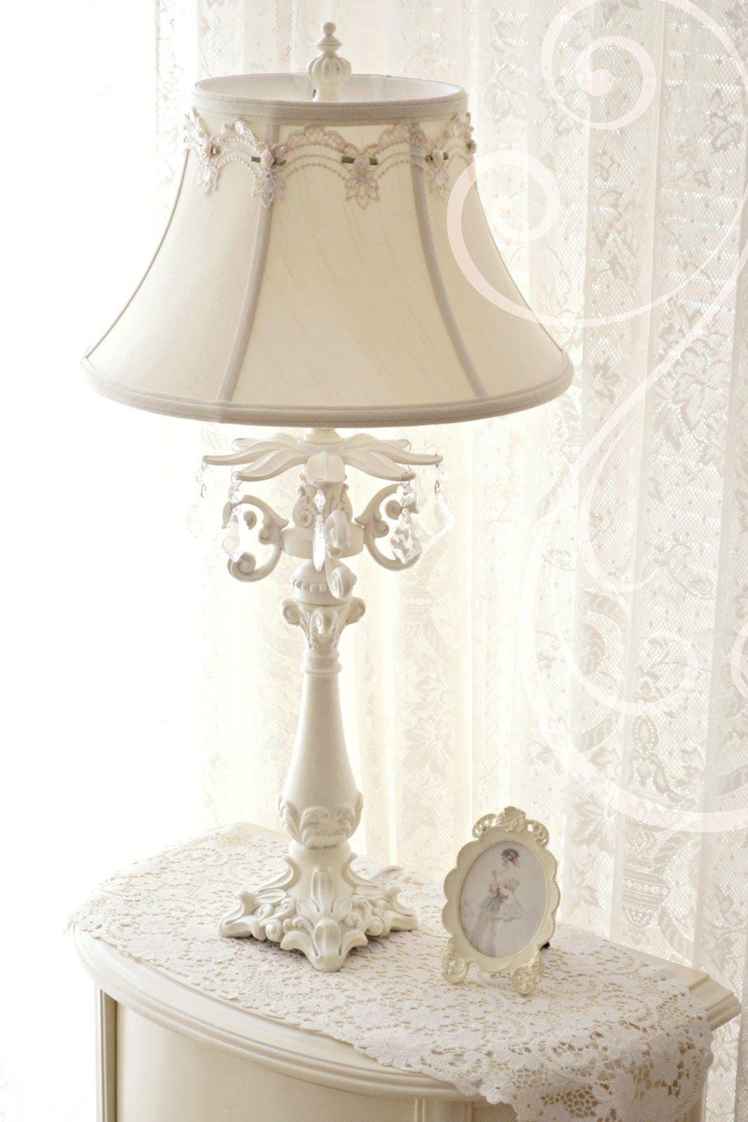 Winter White Shabby Chic Lamp Shades Shabby Chic Lamps Shabby