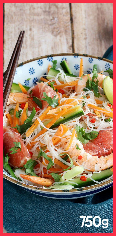 Salade Thaïlandaise aux vermicelles de riz, crevettes et pamplemousse