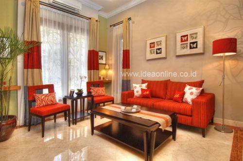 Ruang Tamu Nuansa Merah Interior Rumah Ruangan