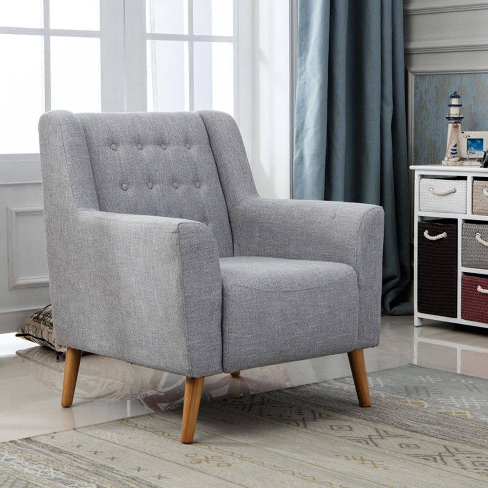 Fabric Tub Chair Armchair Sofa Linen Dining Living Room Office ...