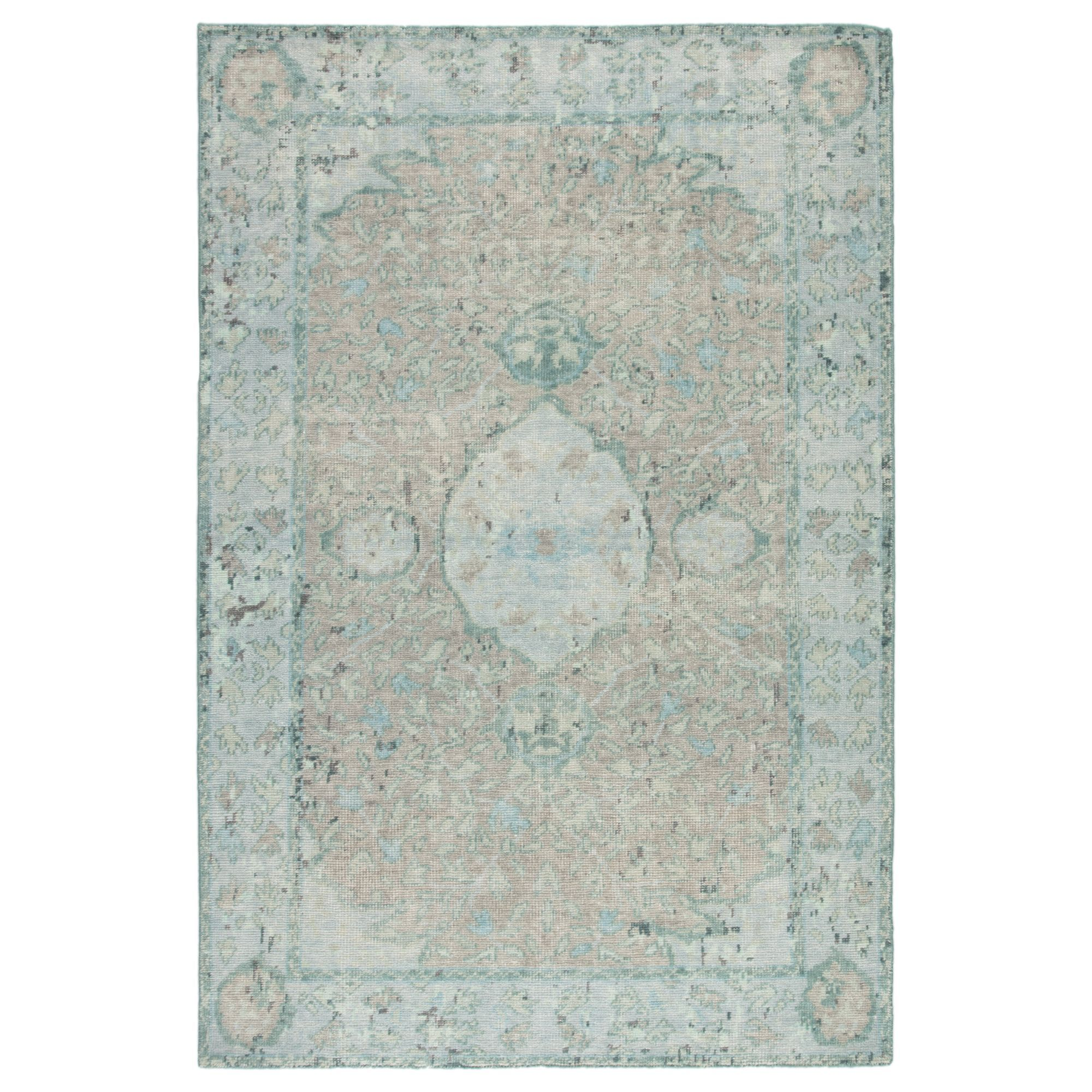 12 X 15 Aqua Blue And Beige Traditional Hand Knotted Rectangular