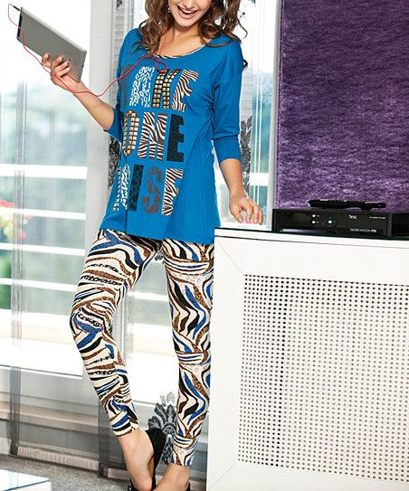 anit Indigo Zebra Make Some Noise Pajama Set | zulily