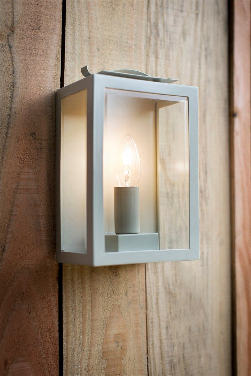 Zinc plated powder coated steel wall mounted garden Swinbrook Lantern in Clay. Chalk & Wicker ...