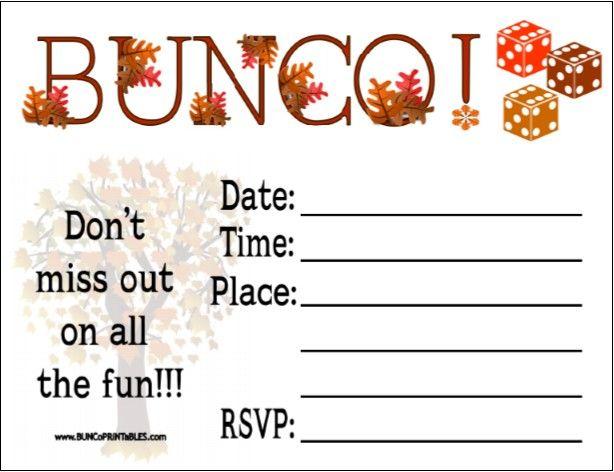 Cute Autumn Bunco Invite Bunco Bunco Themes Bunco Party Fun Games