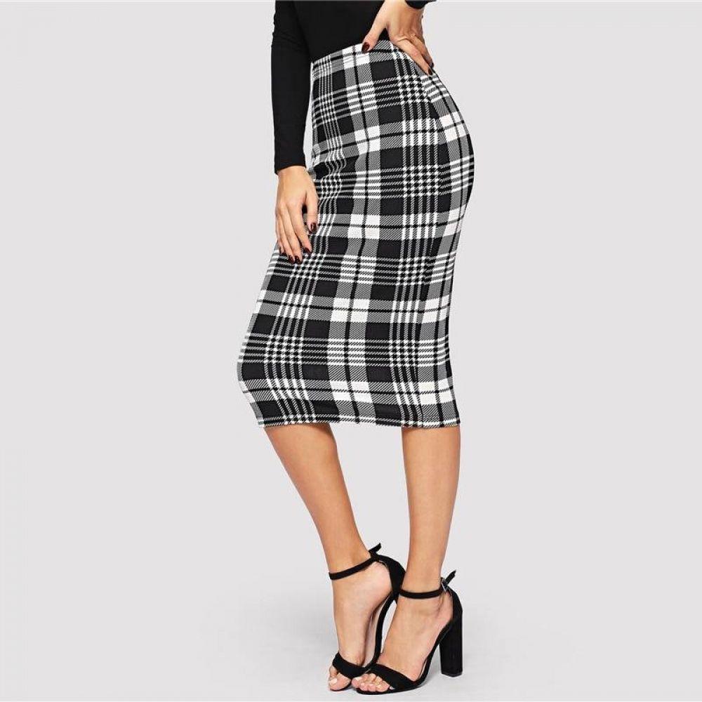 SheIn Womens Plaid Elastic Waist Stretch Bodycon Skirts Knee Length Pencil Skirt
